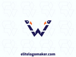 "Create your online logo in the shape of a letter ""W"" combined with two birds, with customizable colors and symmetric style."
