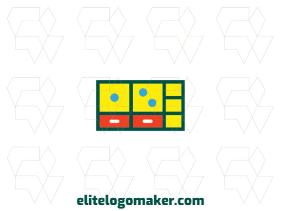 Create an ideal logo for your business in the shape of a wardrobe combined with a domino with childish style and customizable colors.