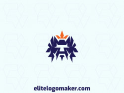 Customizable logo in the shape of a warrior, composed of a symmetric style, with blue and orange colors.