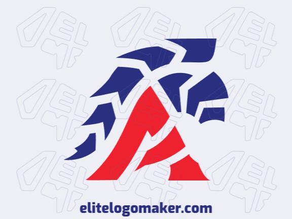 Logotipo criado com estilo abstrato formando um capacete medieval com as cores azul e vermelho.