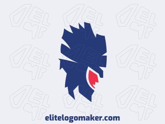 Logotipo simples e profissional com a forma de um guerreiro com estilo abstrato, as cores utilizadas foi rosa e azul.