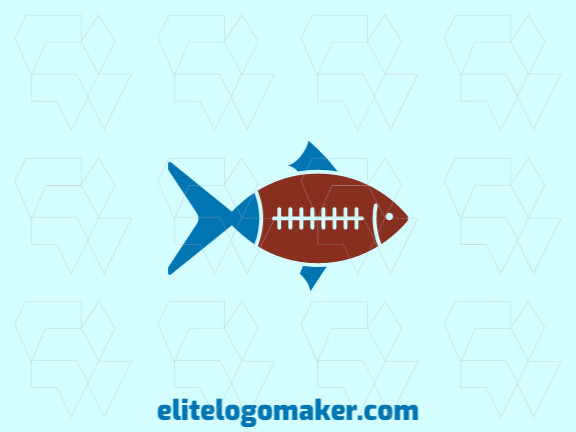 Illustrative logo design in the shape of a fish combined with a ball with blue and dark red colors.