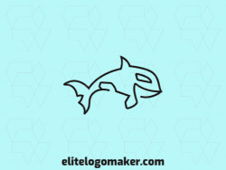 Animal mascot logo with the shape of a whale composed of lines with black colors.
