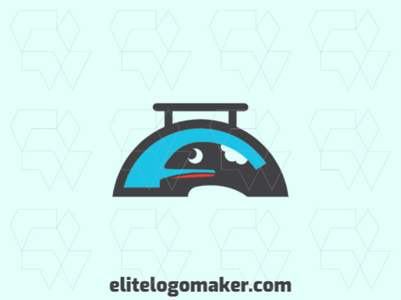 Animal logo design in the shape of a tray fused with a whale with blue, black and red colors.