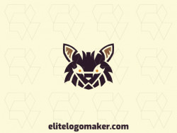 Customizable logo in the shape of a wild cat with a symmetric style, the colors used was brown and orange.