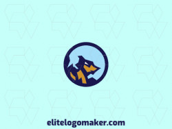 Circular logo design composed of a wolf combined with a mountain with blue and yellow colors.