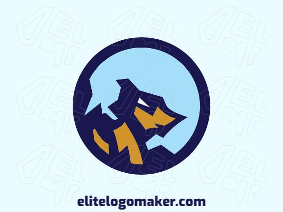 Logotipo circular com a forma de um lobo mesclado com uma montanha composto por formas abstratas e design refinado, as cores utilizadas no logotipo foi azul e amarelo.