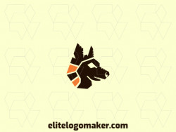 Abstract logo in the shape of a wolf head composed of geometric shapes and refined design, the colors used in the logo are brown and orange.