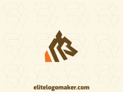 Minimalist logo in the shape of a wolf with brown and orange colors, this logo is ideal for various types of business.