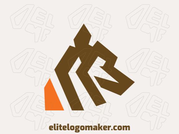 Logotipo minimalista com a forma de um lobo composto por formas abstratas e design refinado, as cores utilizadas no logotipo foi laranja e marrom.