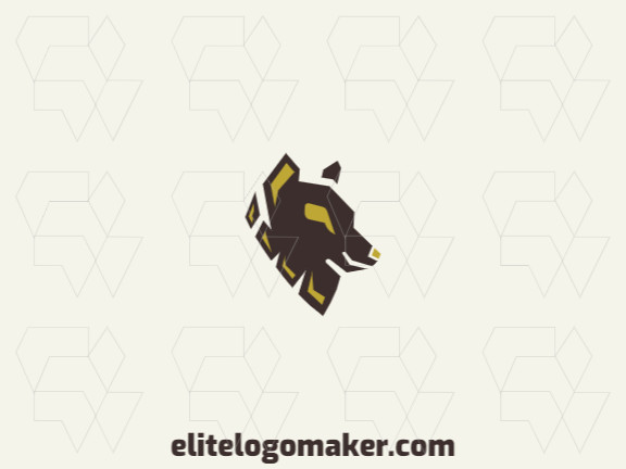 Abstract logo brand with a refined design forming a wolf with yellow and brown colors.