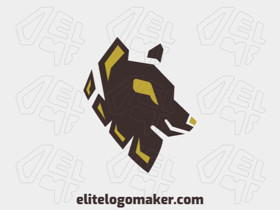 Logotipo animal com formas criativas formando uma cabeça de lobo com design refinado e cores amarelo e marrom.