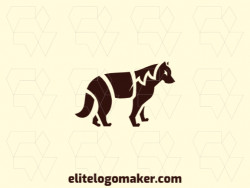 Unique logo in the shape of a wolf with a creative concept and simple design.