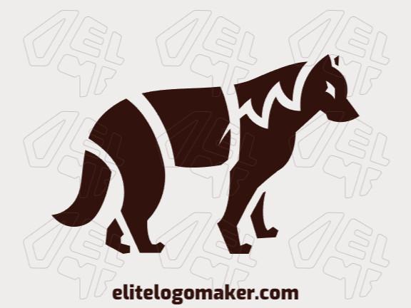 Logotipo criado com estilo simples formando um lobo com a cor marrom.