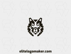 Logo created with symmetry style forming a wolf head with the color black.