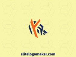 """Creative logo in the shape of a wolf combined with a letter """"y"""" with memorable design and abstract style, the colors used in the logo are orange and blue."""