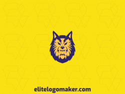 Logo available for sale in the shape of a wolf with abstract design with blue and yellow colors.