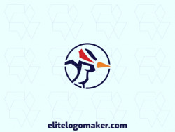 Exclusive logo for sale in the shape of a woodpecker, the colors used was blue, red, and yellow.