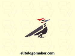 Animal logo in the shape of a woodpecker ideal for any brand, the colors used in the logo is black, red, and gray.
