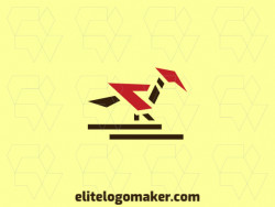 Logo design with the illustration of a woodpecker combined with an arrow with a unique design and simple style.