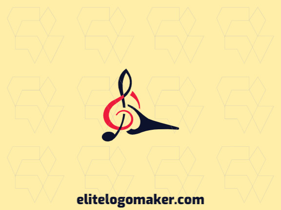 Minimalist logo design in the form of a woodpecker combined with a musical note composed of abstracts shapes with red and black colors.