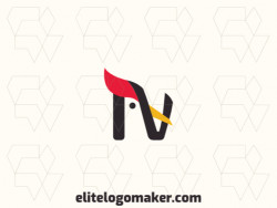 """Modern logo in the shape of a woodpecker combined with a letter """"N"""", with professional design and minimalist style."""