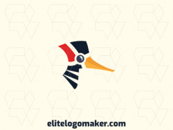 Modern logo in the shape of a woodpecker with professional design and abstract style.