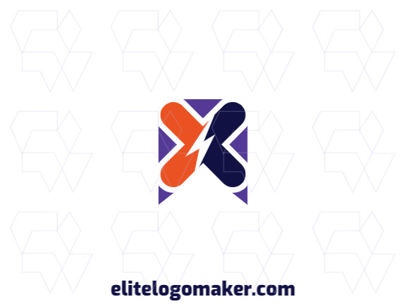 """Create your online logo in the shape of a letter """"X"""" combined with a lightning bolt, with customizable colors and creative style."""