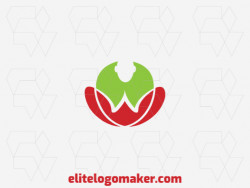 Abstract logo design with a refined design forming a person doing yoga with green and red colors.