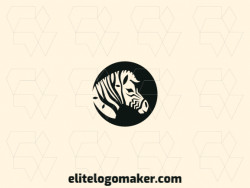 Customizable logo in the shape of a zebra composed of an illustrative style and black color.