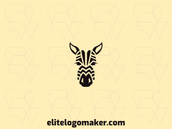 Customizable logo composed of solid shapes and symmetric style, forming a zebra with black color.