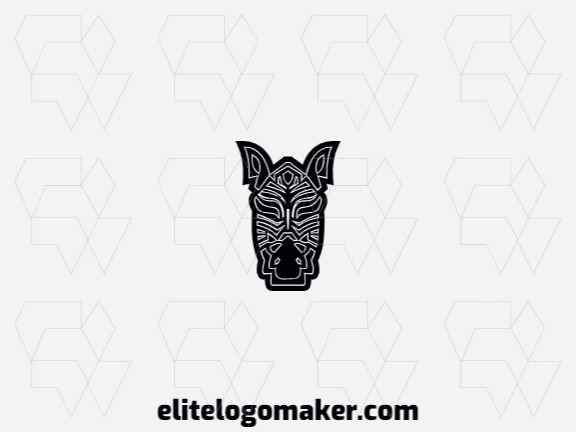 Illustrative logo with an incredible idea forming a zebra composed of abstract shapes with black and white colors.