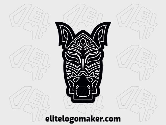 Logotipo abstrato com ideia incrível formando uma cabeça de zebra composto por formas orgânicas com as cores branco e preto.